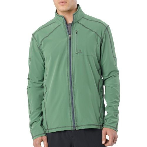 Mens Prana Flex Warm-Up Unhooded Jackets - Deep Jade S