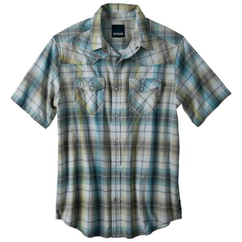Mens Prana Hartman Short Sleeve Non-Technical Tops - Light Blue XL