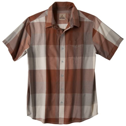Mens Prana Brighton Short Sleeve Non-Technical Tops - Auburn S