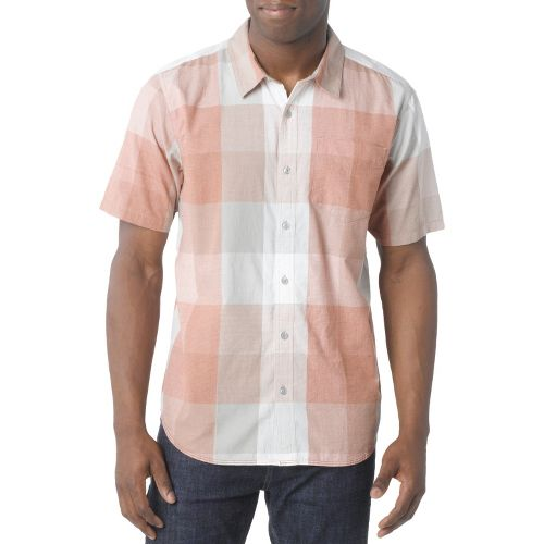 Mens Prana Brighton Short Sleeve Non-Technical Tops - Fog L