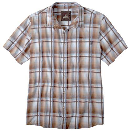 Mens Prana Duke Short Sleeve Non-Technical Tops - Brown XL