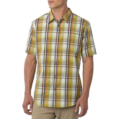 Mens Prana Duke Short Sleeve Non-Technical Tops - Spinach XL