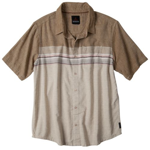 Mens Prana Camino Short Sleeve Technical Tops - Desert S