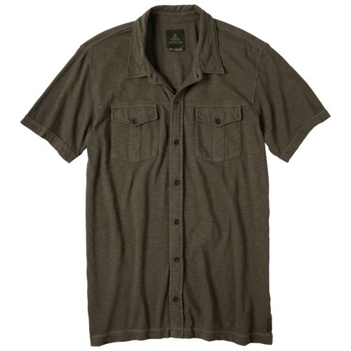 Mens Prana Hayes Button Down Short Sleeve Non-Technical Tops - Cargo Green S