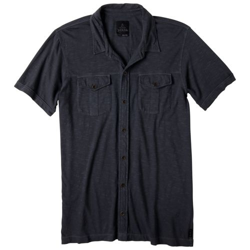 Mens Prana Hayes Button Down Short Sleeve Non-Technical Tops - Coal L