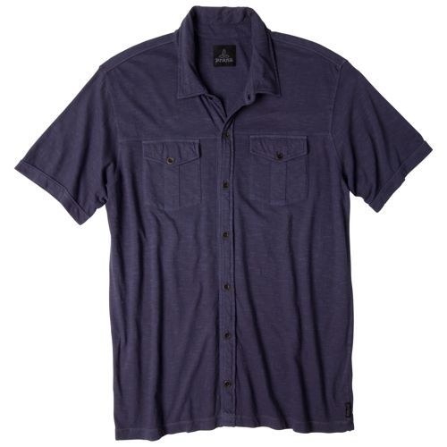 Mens Prana Hayes Button Down Short Sleeve Non-Technical Tops - Dark Eggplant L