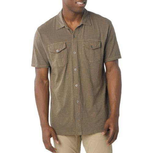 Mens Prana Hayes Button Down Short Sleeve Non-Technical Tops - Mud XXL