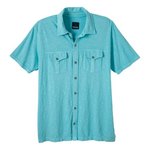 Mens Prana Hayes Button Down Short Sleeve Non-Technical Tops - Niagara XL