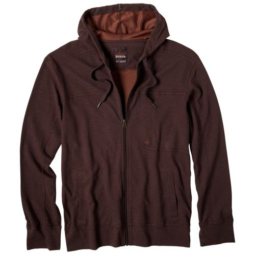 Mens Prana Frontier Warm-Up Hooded Jackets - Brown L