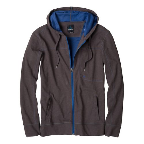 Mens Prana Frontier Warm-Up Hooded Jackets - Charcoal S