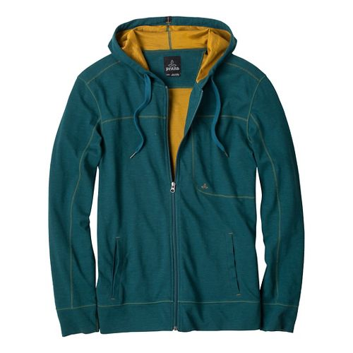Mens Prana Frontier Warm-Up Hooded Jackets - Deep Teal S