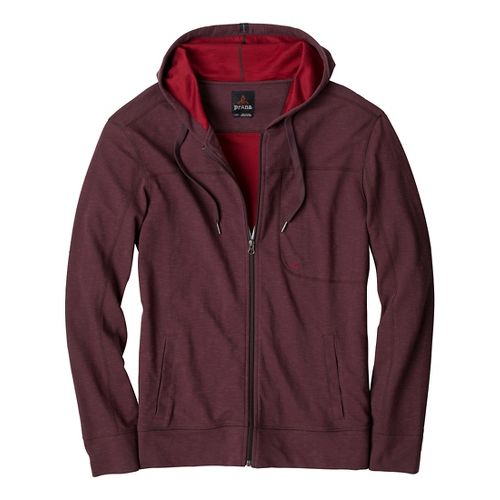 Mens Prana Frontier Warm-Up Hooded Jackets - Rich Cocoa L