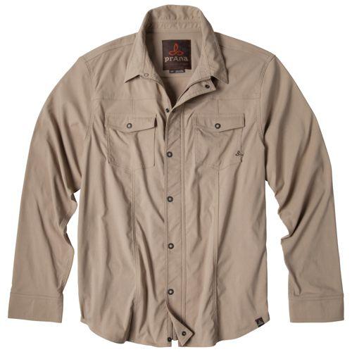 Mens Prana Shadow Warm-Up Unhooded Jackets - Khaki M