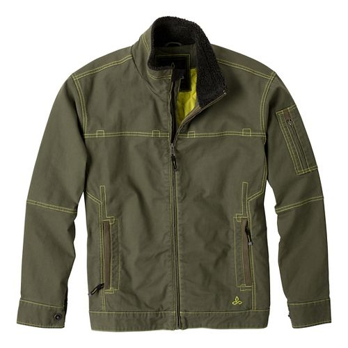 Mens Prana Bronson Warm-Up Unhooded Jackets - Cargo Green M