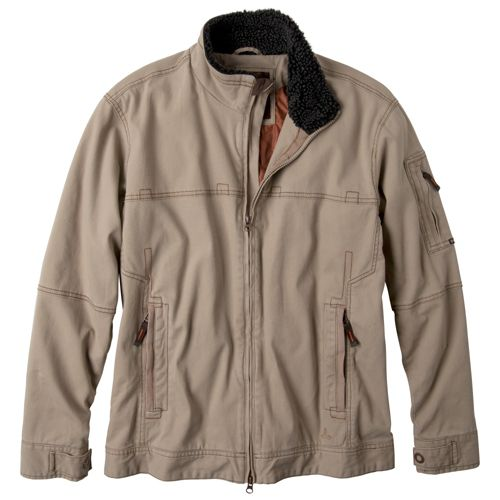 Mens Prana Bronson Warm-Up Unhooded Jackets - Khaki L