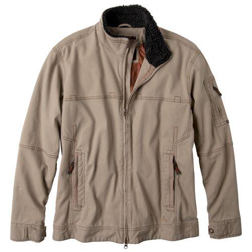 Mens Prana Bronson Warm-Up Unhooded Jackets - Khaki M