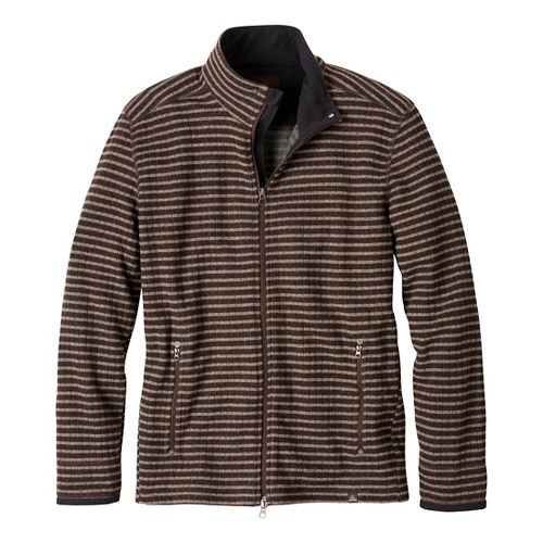 Mens Prana Barclay Sweater Long Sleeve Full Zip Technical Tops - Brown Stripe XXL