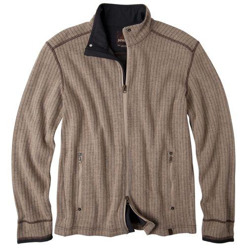 Mens Prana Barclay Sweater Long Sleeve Full Zip Technical Tops - Oatmeal L
