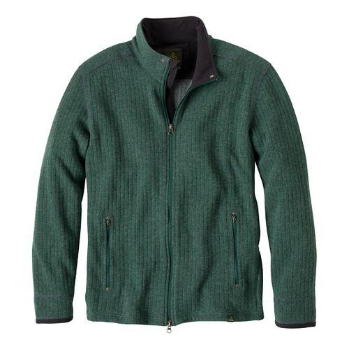 Mens Prana Barclay Sweater Long Sleeve Full Zip Technical Tops - Pine Needle L