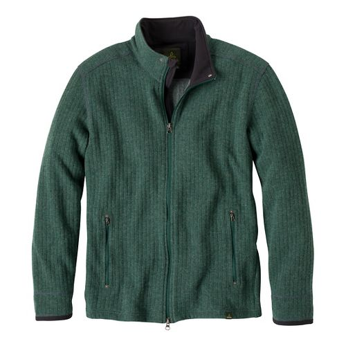 Mens Prana Barclay Sweater Long Sleeve Full Zip Technical Tops - Pine Needle XXL