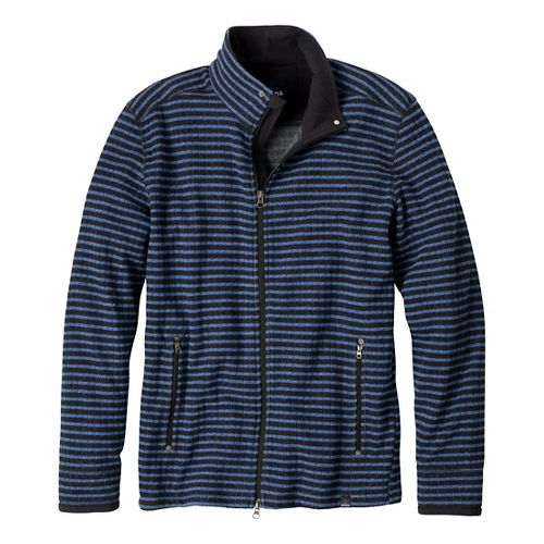 Mens Prana Barclay Sweater Long Sleeve Full Zip Technical Tops - Pure Blue Stripe L ...