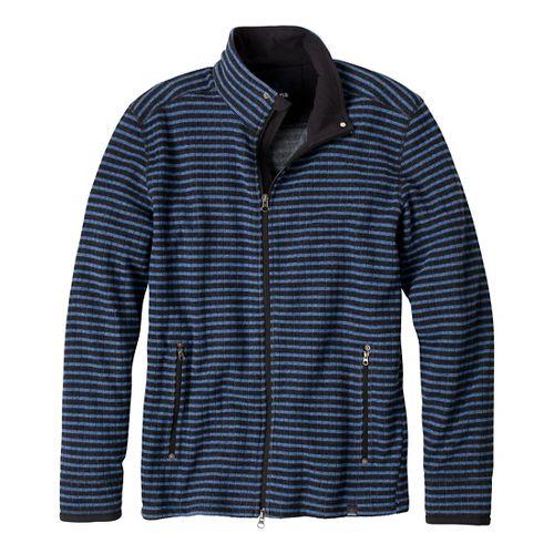 Mens Prana Barclay Sweater Long Sleeve Full Zip Technical Tops - Pure Blue Stripe S ...