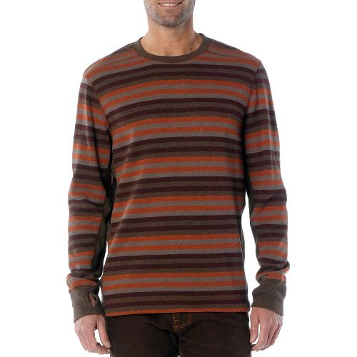 Mens Prana Driftwood Crew Long Sleeve Non-Technical Tops - Brown L