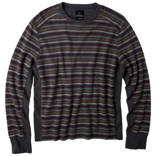 Mens Prana Driftwood Crew Long Sleeve Non-Technical Tops - Charcoal L