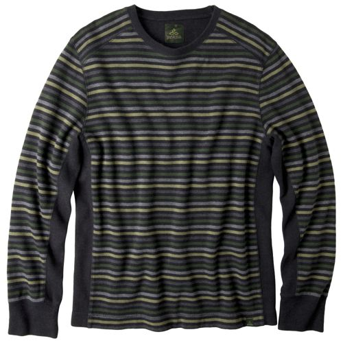 Mens Prana Driftwood Crew Long Sleeve Non-Technical Tops - Dark Olive L