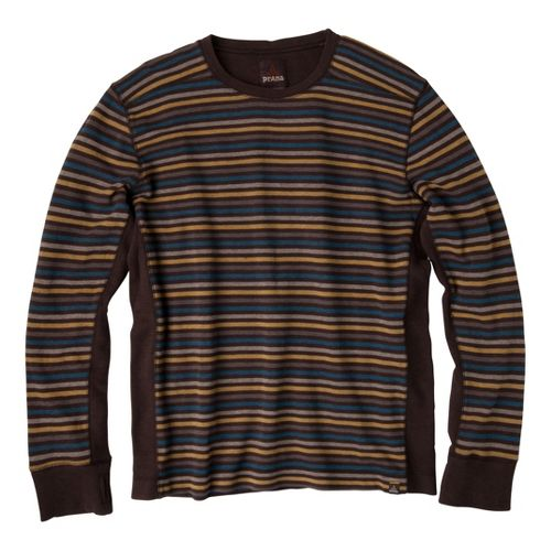 Mens Prana Driftwood Crew Long Sleeve Non-Technical Tops - Espresso S