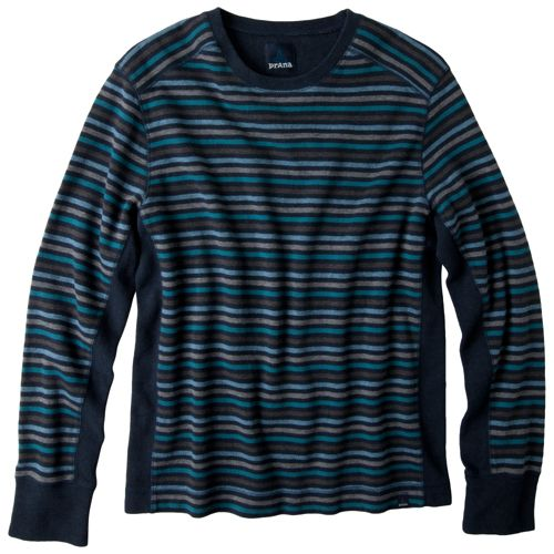 Mens Prana Driftwood Crew Long Sleeve Non-Technical Tops - Midnight L