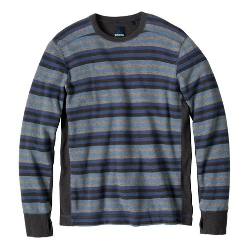 Mens Prana Driftwood Crew Long Sleeve Non-Technical Tops - Pure Blue XL