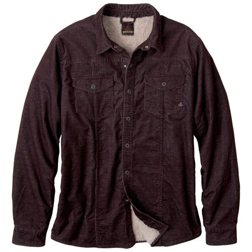 Mens Prana Gomez Corduroy Long Sleeve Non-Technical Tops - Brown L