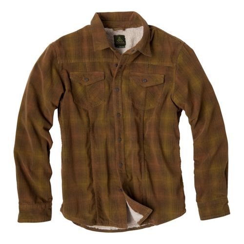 Mens Prana Gomez Corduroy Long Sleeve Non-Technical Tops - Desert Plaid XXL