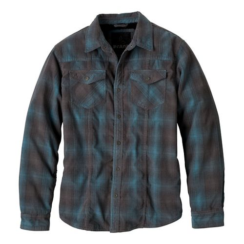 Mens Prana Gomez Corduroy Long Sleeve Non-Technical Tops - Gravel Plaid S