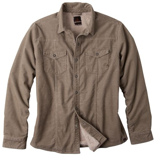 Mens Prana Gomez Corduroy Long Sleeve Non-Technical Tops - Khaki S