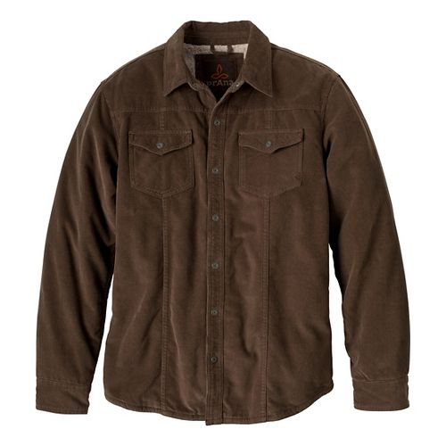 Mens Prana Gomez Corduroy Long Sleeve Non-Technical Tops - Mud XXL