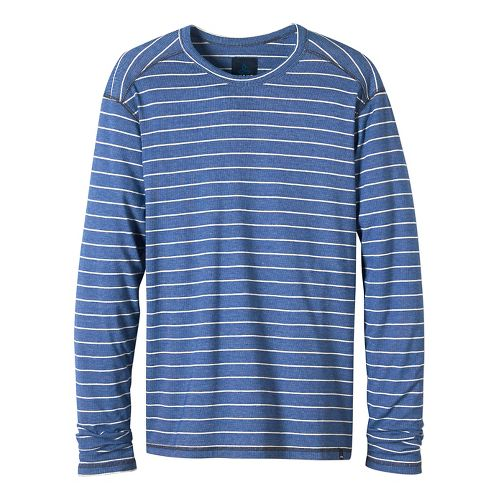 Mens prAna Keller Long Sleeve Crew Long Sleeve Technical Tops - Cobalt Blue S