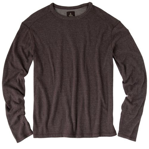 Mens Prana Keller Crew Long Sleeve No Zip Technical Tops - Espresso M