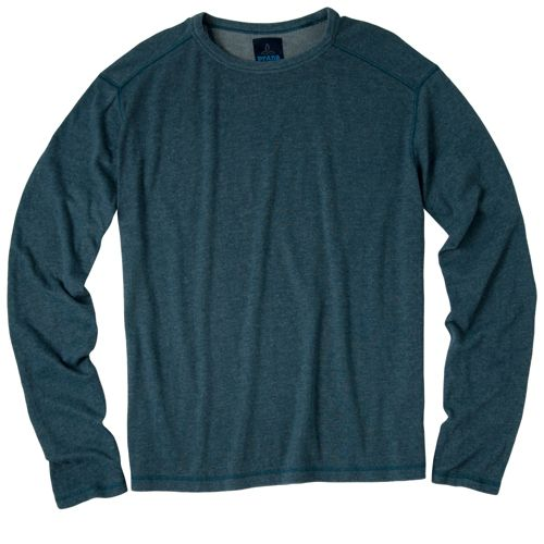 Mens Prana Keller Crew Long Sleeve No Zip Technical Tops - Teal L