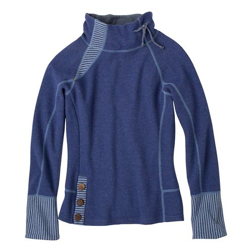 Womens Prana Lucia Sweater Long Sleeve No Zip Technical Tops - Blue Twilight XL