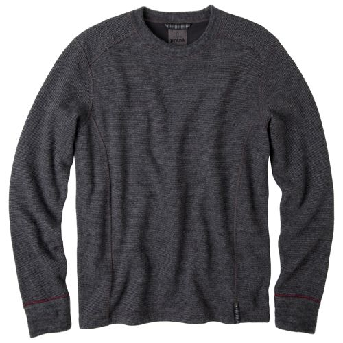 Mens Prana Owen Sweater Crew Long Sleeve Non-Technical Tops - Charcoal Heather L