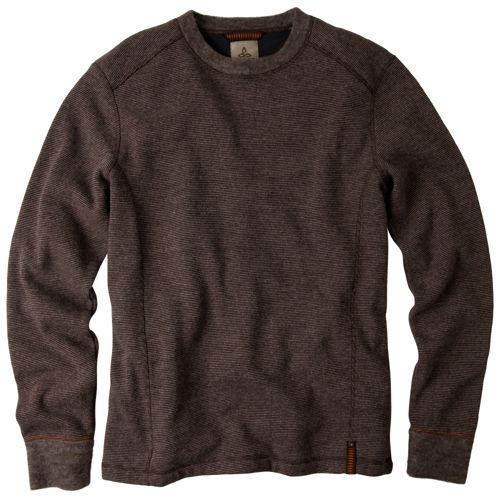 Mens Prana Owen Sweater Crew Long Sleeve Non-Technical Tops - Espresso Heather XXL