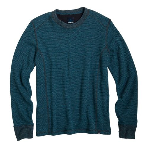 Mens Prana Owen Sweater Crew Long Sleeve Non-Technical Tops - Ink Blue L