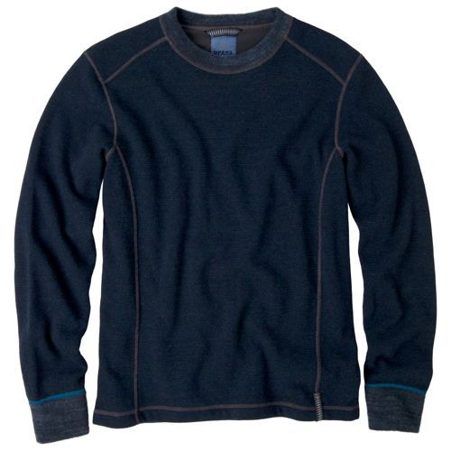 Mens Prana Owen Sweater Crew Long Sleeve Non-Technical Tops - Navy Heather L