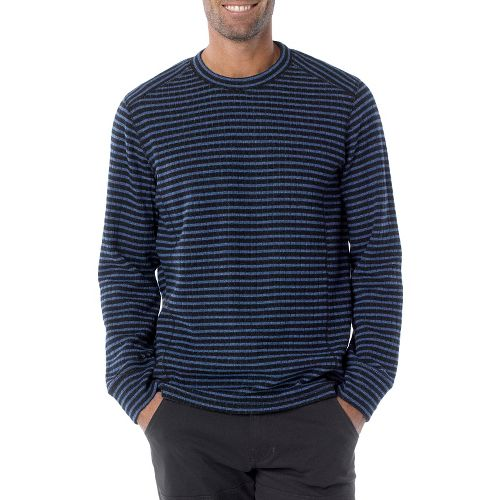 Mens Prana Owen Sweater Crew Long Sleeve Non-Technical Tops - Pure Blue Stripe M