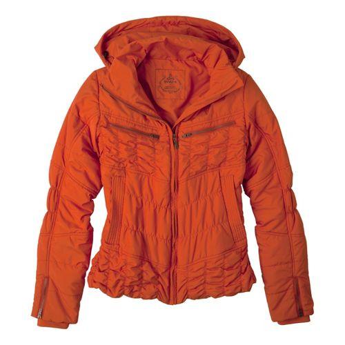 Womens Prana Powder Parka Warm-Up Hooded Jackets - Cayenne M