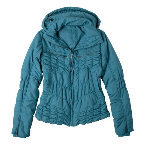 Womens Prana Powder Parka Warm-Up Hooded Jackets - Mystic M