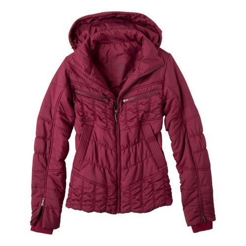 Womens Prana Powder Parka Warm-Up Hooded Jackets - Plum Red L