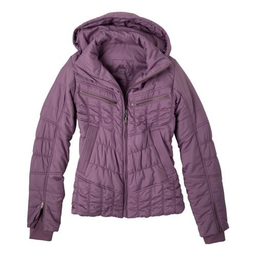 Womens Prana Powder Parka Warm-Up Hooded Jackets - Vintage Grape XL